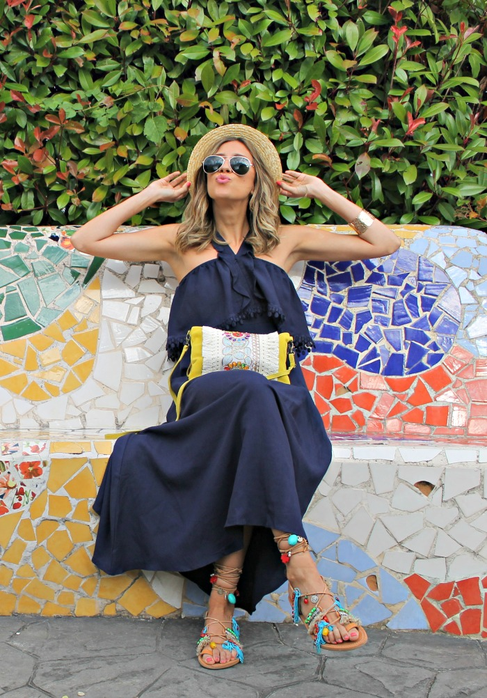 Como Combinar Un Vestido Azul Marino Largo Look And Chic